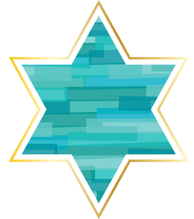 jewish star: Jewish star with gold frame