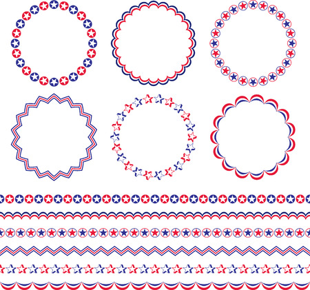 Red White Blue Patriotic Frames And Borders Royalty Free Cliparts