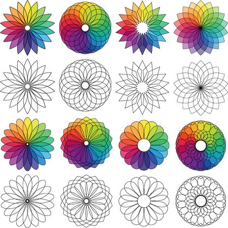 color wheel flowers Illustration