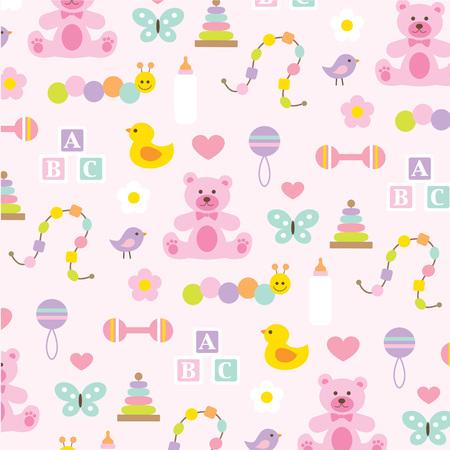 ピンクの赤ちゃん女の子パターン。  イラスト・ベクター素材