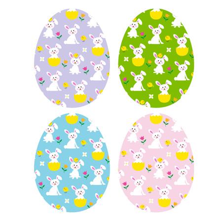 Ostereier mit niedlichen Häschen und Küken Standard-Bild - 73470540