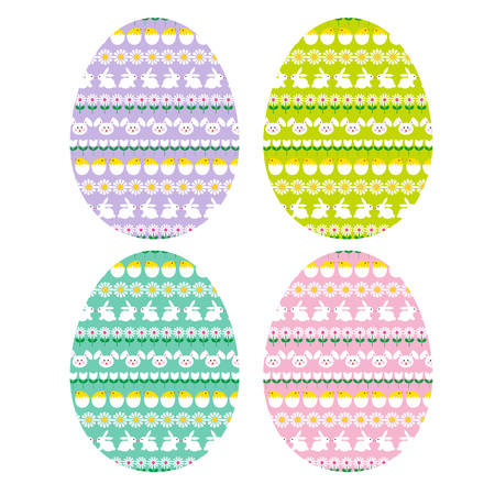 Easter eggs with bunny stripe patterns