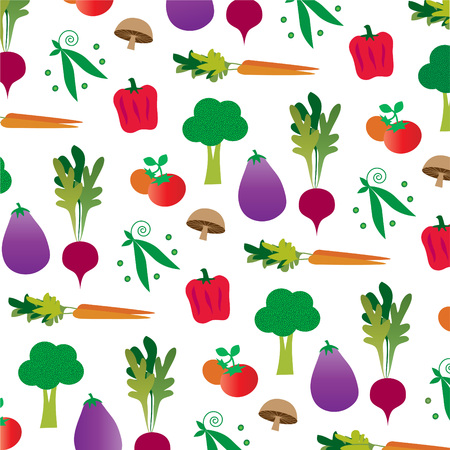 Vegetable pattern on white color.