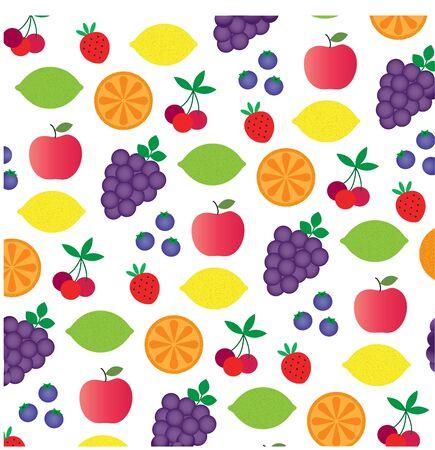 Fruit pattern on white color. Çizim