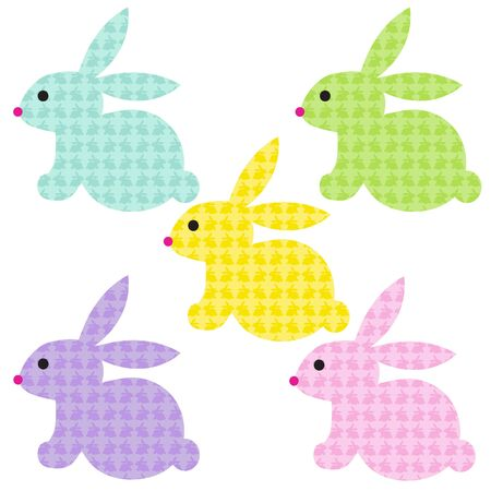 Easter bunnies with bunny patterns Illustration