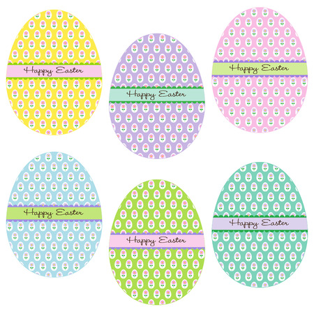 Easter eggs with flower patterns