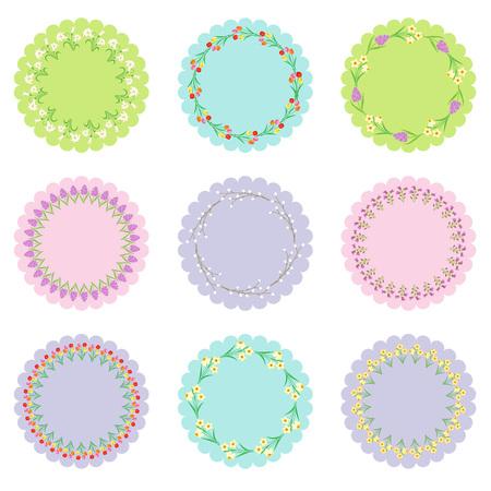 circle labels with flower frames Illusztráció