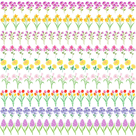 봄 꽃 테두리 패턴