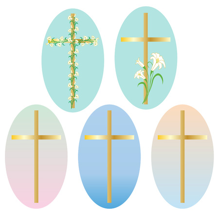 Easter gold cross icons clipart