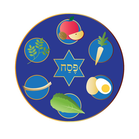 blue passover plate with food Illustration