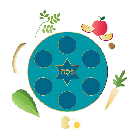 blue seder plate with food