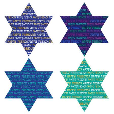 hebrew letters: TYypography patterns on jewish stars Illustration