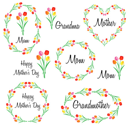 Happy mothers day set with tulips