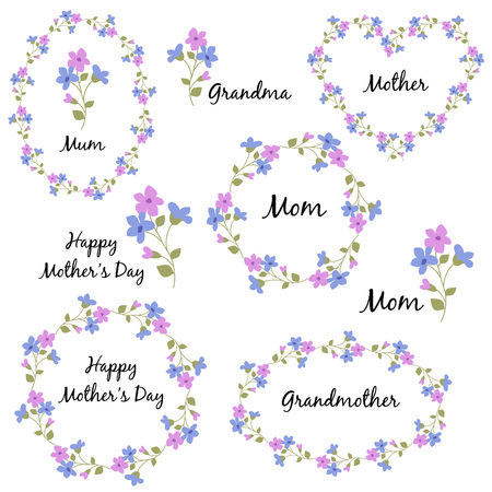 Mothers day set with flowers Illustration