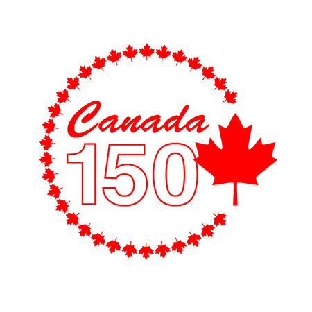 Canada 150 graphic in circle frame