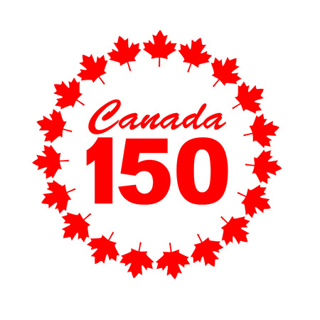 canadian flag: Canada 150 graphic with maple leaf frame