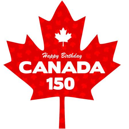 flag: Happy 150 Birthday Canada graphic Illustration