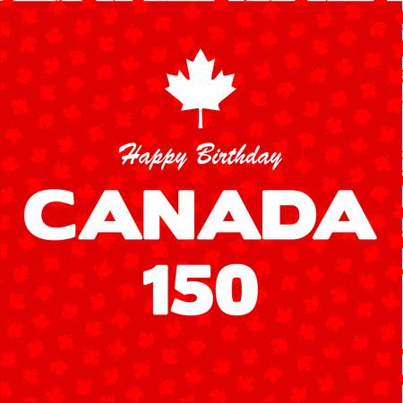 Happy 150 Birthday Canada on maple leaf background
