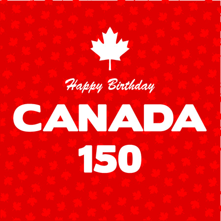 Happy 150 Birthday Canada on maple leaf background