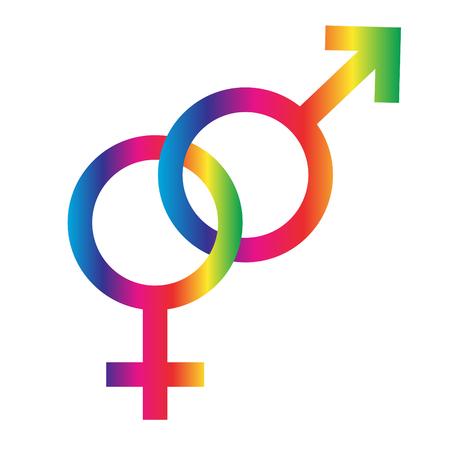 interlocking rainbow male female symbols