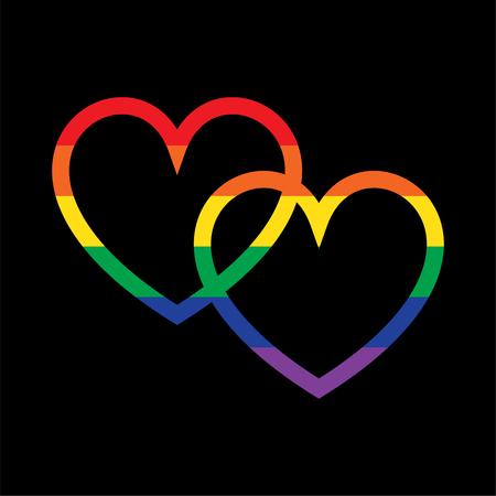 overlapping rainbow hearts on black