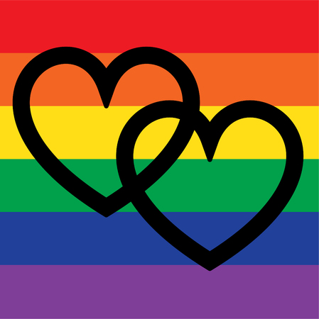 overlapping hearts on rainbow flag