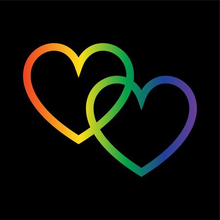overlapping gradient rainbow hearts on black Illustration