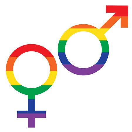 rainbow flag male female symbols