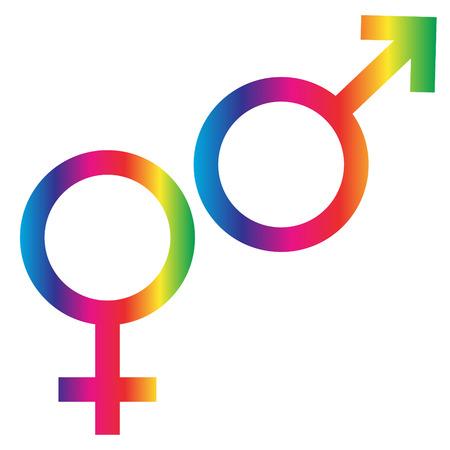 Interlocking Rainbow Male Female Symbols Royalty Free Cliparts