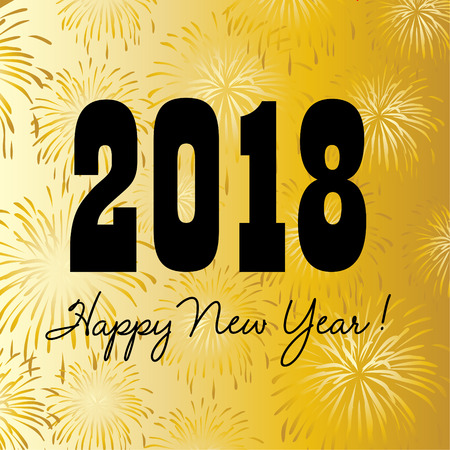 2018 happy new year on gold fireworks background. Ilustração