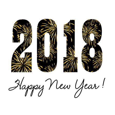 2018 with gold fireworks. Ilustração