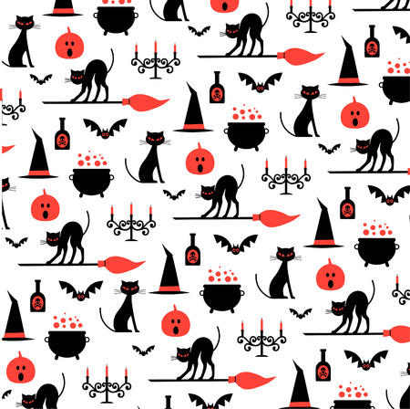 all saints day: Halloween pattern on white background.