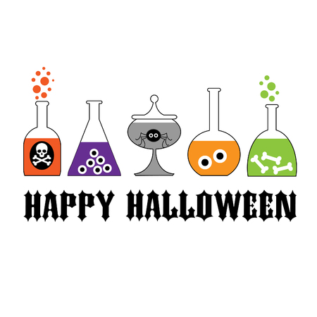 Halloween typography with spooky lab bottles.