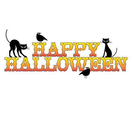 Happy halloween typography with black cats and raven. Illustration
