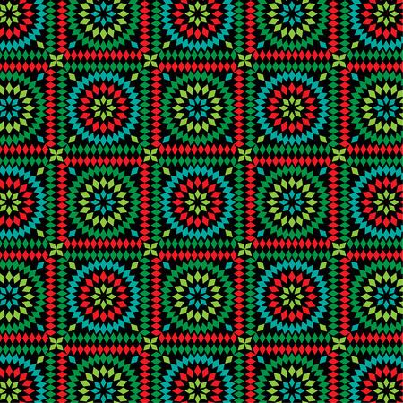 granny square pattern on black Illustration