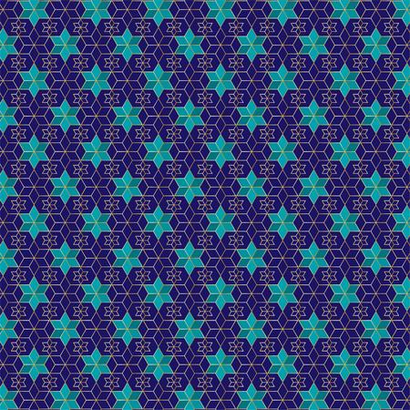 Blue and gold jewish star pattern Illustration