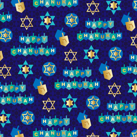 Blauw goud chanukah patroon