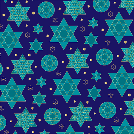 Blue gold jewish star background pattern Çizim