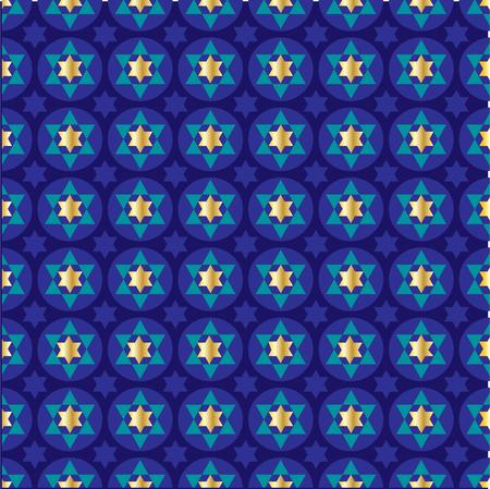 Gold blue star of david background pattern Illustration