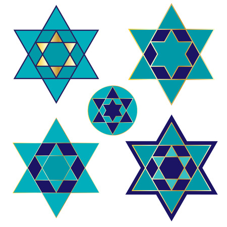 blue and gold Jewish star icons