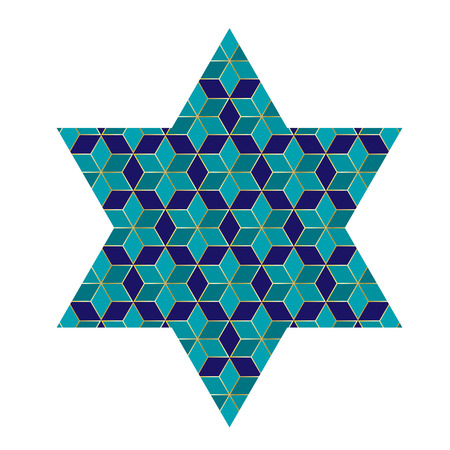 blue and gold Jewish star with pattern