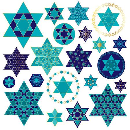 Blaues Gold jüdischen Stern Clipart