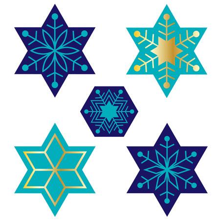 blue Jewish star snowflakes Illustration