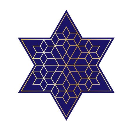 navy blue and gold Jewish star Illustration