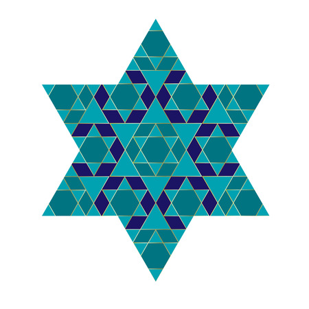 turquoise blue and gold Jewish star