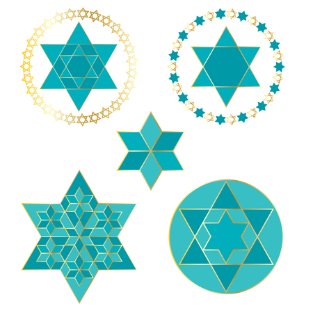 turquoise blue and gold Jewish stars Illustration