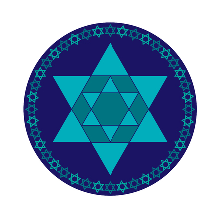 turquoise blue and Jewish star in circle frame