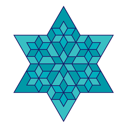 turquoise Jewish star with blue outline Illustration
