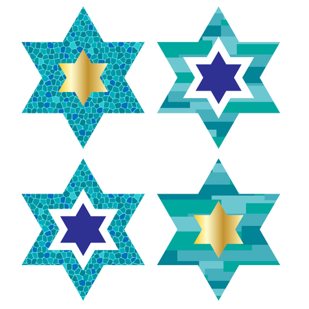 Jewish stars with pattern backgrounds