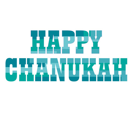 happy chanukah typography with stripe background Illustration